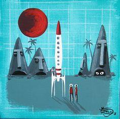 El Gato Gomez Painting Mid Century Modern Retro Space Rocket Futurism Tiki Moai | eBay