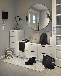 … –Skandinavischer Eingang … – 47 ideas for decorating entryway contemporary wall mirrors 27 Small Bedroom Storage, Storage Spaces, Storage Ideas, Home Decor Furniture, Diy Home Decor, Diy Decoration, Furniture Ideas, Beach House Decor, Beautiful Interiors