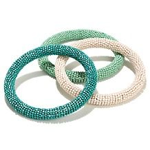"BAJALIA ""Jayi"" Set of 3 Seed Bead Bangle Bracelets"