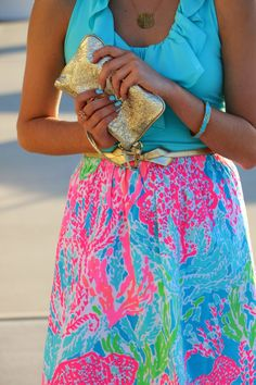 Vibrant colors for spring! Lily Pulitzer halter dress.