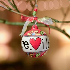 I Love You More! porcelain ball Valentine's Day ornament #GloryHaus #GHValentines