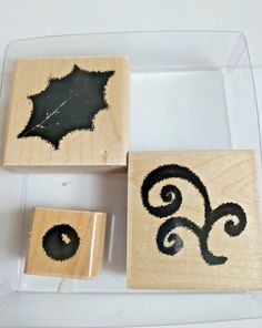 JRL Design Holly Christmas Set of 3 Wood Rubber Mounted Stamps Berry Leaf  #CloseToMyHeart