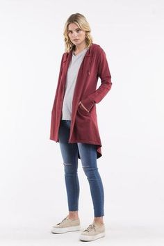 Wardrobe Basics, Wardrobe Staples, Deep Red Color, Open Front Cardigan, Layered Look, Stylish Outfits, Hoods, Cardigans, How To Wear
