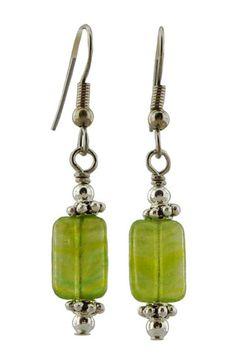 Green Glass Oval Dangle Earrings with Hematite  Oxidized Brass Gunmetal Wire  Canadian Designer
