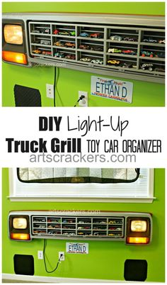 DIY Light-Up Truck Grille Toy Car Organizer Truck Grill Hot Wheels Car Organizer Tutorial. Click the picture to view the tutorial.