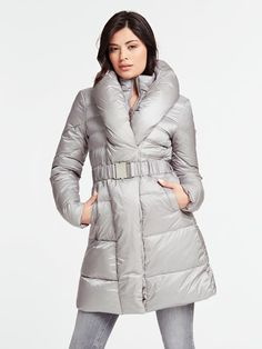 LONG BELTED-WAIST PADDED JACKET | GUESS.eu Padded Jacket, Jackets For Women, Winter Jackets, Belt, Long Sleeve, Model, How To Wear, Shopping, Jackets