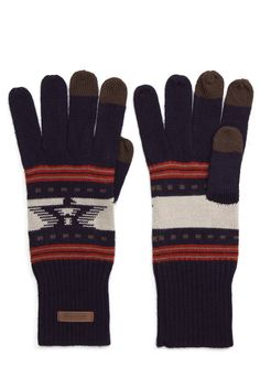 Pendleton Jacquard Knit Gloves Thunderbird Navy