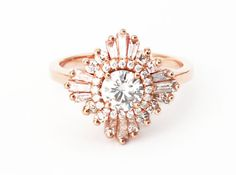 Mid Gatsby Ring - Art Deco, engagement, custom made, vintage, anniversary - white sapphires, diamonds, moissanite, morganite, black diamonds