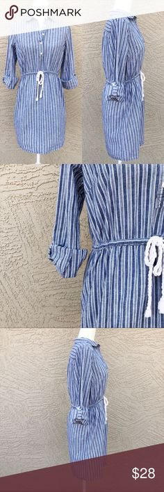 """TOMMY HILFIGER Striped Shirtdress Light blue & white vertical striped shirtdress w/ braided rope tie waist & pull-tab sleeves. There is no materials tag; but the fabric feels like a linen/cotton blend. Pit to Pit: 19"""", Length: 34"""". Tie perhaps slightly loose on one of the twist—overall EUC✨OFFERS WELCOME✨ Tommy Hilfiger Dresses"""