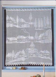 Filethäkeln Gardine Landschaft - filet crochet curtain