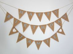 Happy Birthday custom burlap banner  by willowbloomwreaths on Etsy