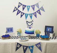 Boy Blue Ombré themed 10th Birthday