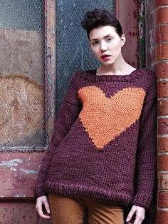 Knit this womens garter stitch sweater with intarsia heart motif from Easy Winte