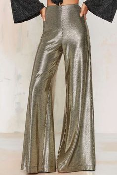 These pants are so ME! Nasty Gal Hot and Gold High-Waisted Metallic Pants #gold #metallic #shopping #style #fashion