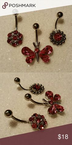 """3 NEW Pink Crystal Butterfly & Flower Navel Ring SET OF THREE New, never used (as that is unsanitary, even when well cleaned) navel (belly button) body piercing jewelry. Surgical steel, standard 14g 1/2"""" length curved / banana barbell, all featuring pink crystal rhinestones - a butterfly, and two different flower designs.  More new body jewelry available in my closet!  Thank you for visiting, and happy poshing!! :)  SORRY, NO TRADES  BUNDLE & SAVE! Jewelry"""