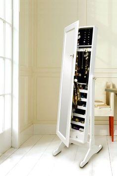 White Wood Mirror Jewelry Cabinet