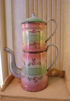 Enameled  French COFFEE POT hand painted ROSES by villavillacolle