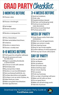 The perfect grad party checklist! For more helpful tips on planning your next graduation party, down Graduation Party Planning, College Graduation Parties, Graduation Celebration, Graduation Decorations, Graduation Photos, Grad Parties, Graduation Party Foods, Graduation Picture Boards, College Grad Gifts