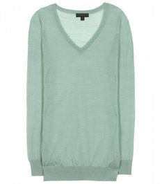 Burberry Prorsum Cashmere and Silkblend Sweater in Green (sage)