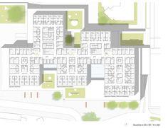 Anerkennung: Grundriss 4.Obergeschoss, Betten-Stationen, © JSWD Architekten