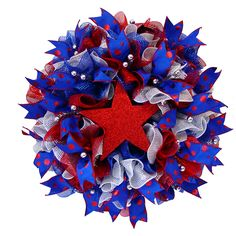 """Super easy Patriotic Ruffle Wreath using 10"""" Deco Poly Mesh. Instructions and loads of images on this Blog Post at Trendy Tree."""