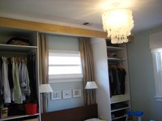 "LOVE SO BADLY. So this is a DIY tutorial on how to create a ""Closet Headboard"" or ""Closet Wall"" This is a great idea for smaller spaces like studio apartments. You can then turn the existing itty bitty closet into a small office area!"