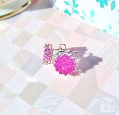 Druzy Bezel Set Stud Earrings Pink in Sterling Silver by cutekind on Etsy https://www.etsy.com/listing/179983447/druzy-bezel-set-stud-earrings-pink-in