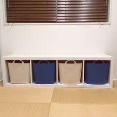 hiro.rororoさんの、棚,IKEA,和室,おもちゃ収納,キッズスペース,ブルー,収納アイデア,ポイポイ収納,おかたづけ,こどもと暮らす,KALLAX,スタックストーバケット,のお部屋写真