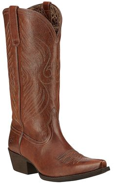 Ariat Round Up Women's Wood Brown Snip Toe Western Boots | Cavender's