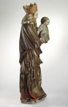Musée des Beaux-Arts de Budapest. Vierge à l'Enfant. Artiste: Sculpteur allemand. Date v.1430. Medium:calcaire polychromé . Dimensions: 124,5 x 43 x 32 cm