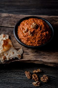 Muhammara - Syrian dip with charred red bell peppers, walnuts and pomegranate molasses Fingers Food, Dips, Pomegranate Molasses, Lebanese Recipes, Syrian Recipes, Eastern Cuisine, Middle Eastern Recipes, Arabic Food, Snacks