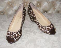 Women's Ivanka Trump Leopard print Peep Toe High Heels, Leelas Wedge 7.5 M