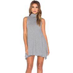 Bobi Light Weight Jersey Turtleneck Tank Dress Dresses ($44) ❤ liked on Polyvore featuring dresses, jersey tank dress, bobi dresses, bobi, lightweight dress and tank top dress