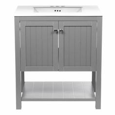 369$ no faucet Home Decorators Collection Cranbury 30 in. Vanity in Cool Gray with Vitreous China Vanity Top in White-D10030-12W - The Home Depot