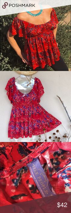 FreePeople Peasant blouse ✨BNWOT✨ Gorgeous! Off shoulders or on. Flowey, with gently shirred tiers and lace insets at sleeves. Red blue gold print. 100% poly, easy breezy peasy! ✨Gift, but red's not my color✨ Free People Tops