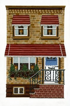 Art and Illustration--Adrienne Langer Building Art, Building A House, Painted Cottage, House On The Rock, Cute House, House Quilts, Paper Houses, Decoupage Paper, Miniature Houses