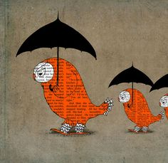 Juri Romanov, Orange owls black umbrellas. Giclee art print