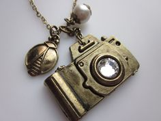 Shutter Bug Camera Necklace with Swarovski Gem and by luckysparks, $10.50
