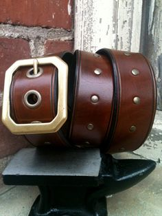 Leather Men's Belt With Rivets - Beachwood Brass Handcrafted Leather Belt (Antique Brown, Full Rivets)