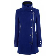 Zipper Long Sleeve Worsted Solid Color Turtleneck Casual Style Women's Coat, SAPPHIRE BLUE, XL in Jackets & Coats | DressLily.com