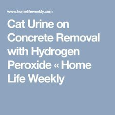 Cat Urine on Concrete Removal with Hydrogen Peroxide « Home Life Weekly
