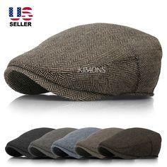EM Herringbone Ivy Hat Wool Stripe Gatsby Cap Golf Driving Flat Cabbie Newsboy #Kimons #NewsboyCabbie