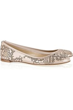Valentino lace-effect patent-leather ballet flats