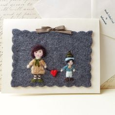 Needle felted cards for Mom handmade OOAK wool by FunFeltByWinnie