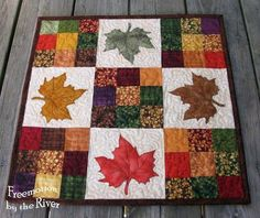 Maple Leaves Table Topper from Modern 9 Patch quilt pattern which includes applique templates for 4 different patterns for table runner or table toppers. Patchwork Quilting, Applique Quilts, 9 Patch Quilt, Quilt Blocks, Halloween Quilts, Quilted Table Toppers, Quilted Table Runners, Burlap Table Runners, Quilting Projects