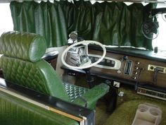 1969 Winnebago Motorhome interior in dark green! Vintage Rv, Vintage Trailers, Vintage Campers, Motorhome Interior, Automotive Upholstery, Classic Trailers, Rv Travel Trailers, Home Fix, Garage