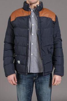 Tan/Navy Popper Jacket