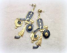 Gypsy Cowgirl Dangle Statement Earrings from the 80s! #vintage #earrings #statement #vintage #cowgirl #country western