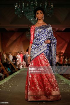 A model walks the runway at Regal Threads Fashion Show By Manish Malhotra at Trident Hotel on January 2016 in Mumbai, India. Half Saree Designs, Blouse Designs, Ethnic Outfits, Indian Outfits, Abaya Fashion, Indian Fashion, Half Saree Lehenga, Indian Beauty Saree, Indian Attire