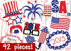 MEGA PACK July 4th Photobooth Props - PRINTABLE - 42 piece - Instant Download, Print, Party - Fourth of July Photo Booth Paper Props Diy